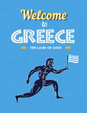 Travel to Greece Poster - funny greece runner warrior Royalty Free Stock Photos