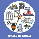 Travel to Greece promo poster with national symbols. Ancient columns, old amphora, fresh fish, theatrical masks, wooden boat, gladiators helmet, olive branch Royalty Free Stock Photo