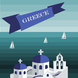 Travel to Greece template. Santorini Flat Illustration. Flat cartoon style royalty free illustration