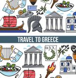 Travel to Greece vector poster of Greek symbols. Travel to Greece poster of Greek symbols and famous sightseeing landmarks. Vector design of Greece flag, Athens Royalty Free Stock Images