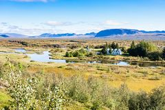 View of rift valley in Thingvellir national park. Travel to Iceland - above view of rift valley in Thingvellir national park in september Royalty Free Stock Photos