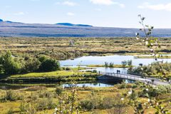 Above view of Silfra Fissure in Thingvellir park Royalty Free Stock Photo