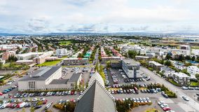 Aerial view of Leifsgata street in Reykjavik. Travel to Iceland - aerial view of Eiriksgata and Leifsgata streets in Reykjavik city from Hallgrimskirkja church Stock Photos