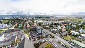 Aerial view of Eiriksgata street in Reykjavi. Travel to Iceland - aerial view of Eiriksgata street in Reykjavik city from Hallgrimskirkja church in autumn Stock Images