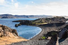 Volcanic coast of Kleifarvatn lake in Iceland Stock Photos