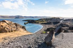 Volcanic coastline of Kleifarvatn lake in Iceland Stock Images