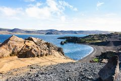 Volcanic shore of Kleifarvatn lake in Iceland Royalty Free Stock Images