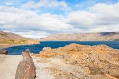 Coast of Kleifarvatn lake in Iceland Stock Photo