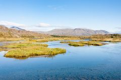 River in valley of Thingvellir national park Stock Images