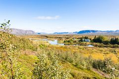 Panorama of rift valley in Thingvellir park. Travel to Iceland - panorama of rift valley in Thingvellir national park in september Royalty Free Stock Photo