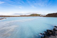 View of Blue Lagoon Geothermal lake in autumn. Travel to Iceland - view of Blue Lagoon Geothermal lake in Grindavik lava field outside spa resort in autumn Royalty Free Stock Photography