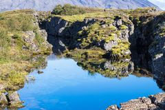 View of Silfra fissure in valley of Thingvellir Royalty Free Stock Photo