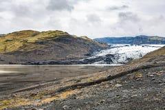 View of Solheimajokull glacier in autumn. Travel to Iceland - view of Solheimajokull glacier (South glacial tongue of Myrdalsjokull ice cap) in Katla Geopark on Royalty Free Stock Images