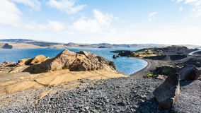 Volcanic beach of Kleifarvatn lake in Iceland Stock Image