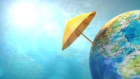 Travel to India. Travel background. Globe with parasol covering India