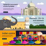 Travel to India banner vector set. Indian culture Royalty Free Stock Photography