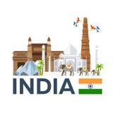 Travel to India, skyline. Taj mahal. Vector illustration. Royalty Free Stock Images