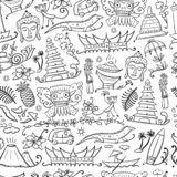 Travel to Indonesia. Seamless pattern for your design. Vector illustration royalty free illustration