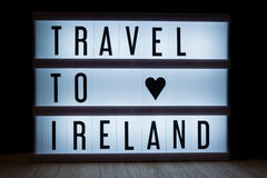 Travel to ireland. `Travel to Ireland` text in lightbox Royalty Free Stock Photography