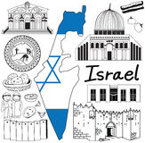 Travel to Israel doodle drawing icon with friendly Palestine tourism concept Stock Photography