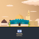 Travel to Israel, Jerusalem Poster skyline. Wailing wall. Vector illustration. Royalty Free Stock Images