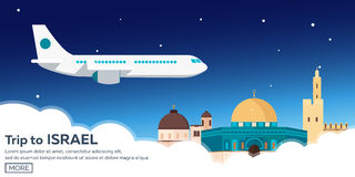 Travel to Israel, Jerusalem Poster skyline. Wailing wall. Vector illustration. Royalty Free Stock Image