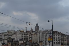 Galata Tower surrounded by Istanbul houses royalty free stock photography