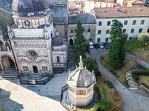 Above view of Piazza Duomo in Bergamo. Travel to Italy - above view of Piazza Duomo with Cappella Colleoni and Baptistery from Campanone (Torre civica) bell royalty free stock photography