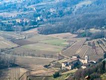 rural fields in suburbs of Bergamo in spring stock photos