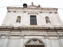 Facade of Basilica di Sant'Alessandro in Colonna. Travel to Italy - facade of church Basilica di Sant'Alessandro in Colonna on street Via Sant'Alessandro in royalty free stock images