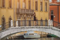 Travel tourist woman in Venice, Italy. royalty free stock images
