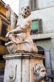medieval Fontana del Delfino in Bergamo city stock photos