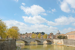 Travel to Italy - Rome cityscape with St Peter Basilica and Tiber River in sunny spring day Royalty Free Stock Photo