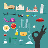 Travel to Italy vector icons set. Italian landmarks, cathedral, gondola Stock Photo