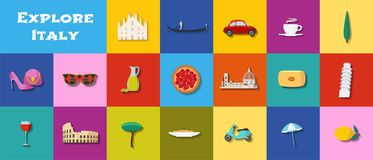 Travel to Italy vector icons set Stock Image