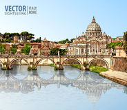 Travel to Italy. View at St. Peter`s cathedral in Rome.  Royalty Free Stock Photos