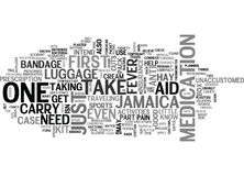 A Travel To Jamaica First Aid Kit Word Cloud. A TRAVEL TO JAMAICA FIRST AID KIT TEXT WORD CLOUD CONCEPT Stock Photography