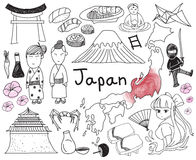Travel to Japan doodle drawing icon Stock Photos