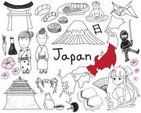 Travel to Japan doodle drawing icon. With culture, costume, landmark and cuisine tourism concept in isolated background, create by vector Royalty Free Stock Photography
