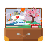Travel to Japan Flat Style Vector Concept Stock Photos