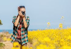 Travel to Jeju Island, South Korea, a young girl tourist walks on a spring day. travel to Asia royalty free stock photos