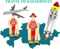 Travel to Kazakhstan graphic. Travel to Kazakhstan text graphic illustrated with map, men in traditional attire, airplane and rocket ship on white Royalty Free Stock Photos