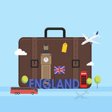 Travel to London, Great Britain concept with landmark icons inside suitcase. Stock Photo