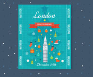 Travel to London. Merry Christmas greeting card Stock Image