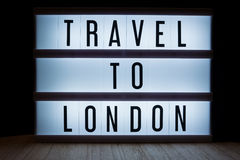 Travel to London. `Travel to London` text in lightbox stock photos