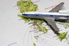 Travel to Manila. Concept with map and airplane toy stock photography