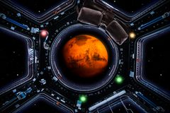 Travel to mars. Planet Mars 3d render seen through spaceship windows royalty free illustration