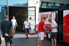 Travel to match the Polish team football. Stock Photography