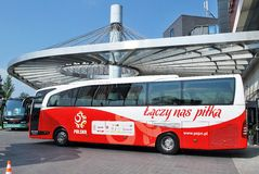 Travel to match the Polish team football. Stock Images