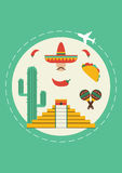 Travel to Mexico. Cover for brochure or card, poster or sticker. vector illustration Stock Photography